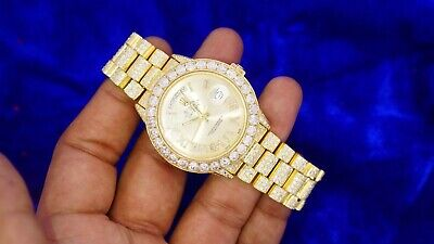 Rolex 36mm Gold President Watch Fully Iced With 20 Carat Diamonds Best Price