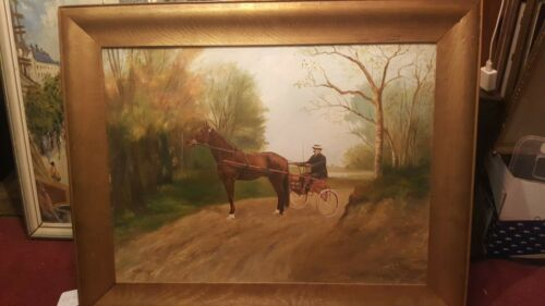 19th Antique Artist Grieg (Trotter) Standardbred Saratoga Portrait Oil Painting