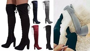 Womens-Ladies-Suede-Over-The-Knee-Boots-Shoes-Block-High-Heel-Lace-Thigh-Stretch