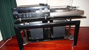 Home stereo, turntable, amplifier, two speakers and stand Mount Pleasant Melville Area Preview