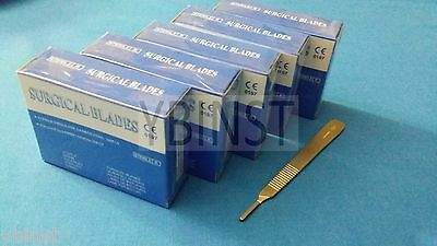 500 Sterile Surgical Blades 10 11 12 15c 16 W Free Scalpel Knife Handle 3