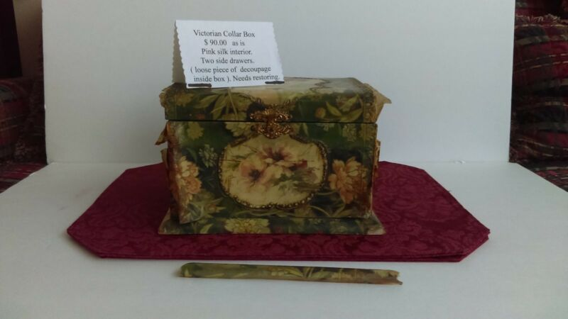 Victorian Collar Box - Pink Silk Interior - Two Side Drawers