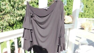 Boston Proper Black One Shoulder Sexy Top Tee Ruffled Sleeves M Medium 36
