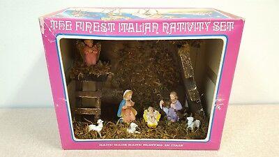 Vtg Nativity Set w/ Creche & Pink Angel Made in Italy Brand New w/Box Fontanini?
