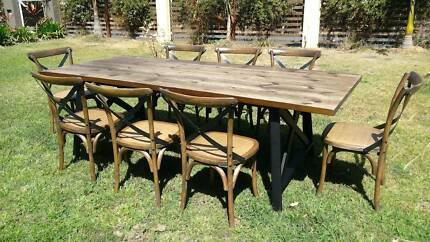 Brand New Rustic Industrial Hamptons Style 9 Piece Dining Table