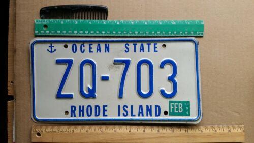 License Plate, Rhode Island, 1994, Ocean State, ZQ - 703