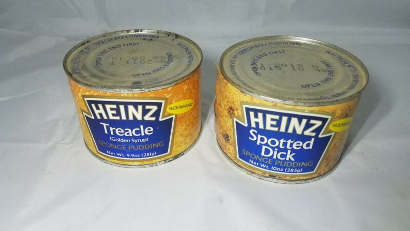 GAG GIFT HEINZ Spotted Dick Sponge Pudding Canned & TREACLE  can Expired Unopen