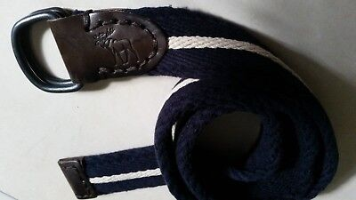 ABERCROMBIE & FITCH  D RING THICK FABRIC LEATHER LOGO MENS BELT SIZE 30 NAVY