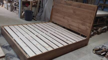 Made to order solid stained pine bed