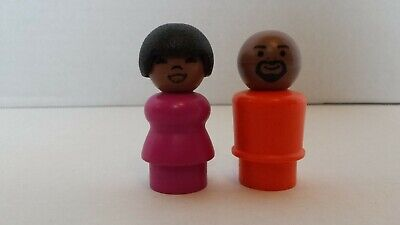 VINTAGE FISHER PRICE LITTLE PEOPLE GORDON & SUSAN FROM SESAME STREET