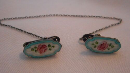 vintage Sweater Guard Clip Guilloche Enamel flower design Sterling Top chain(AHB