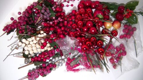 Lot of Pick & Wreath Supplies Holiday Crafts Bulbs & Berries Red Christmas Decor