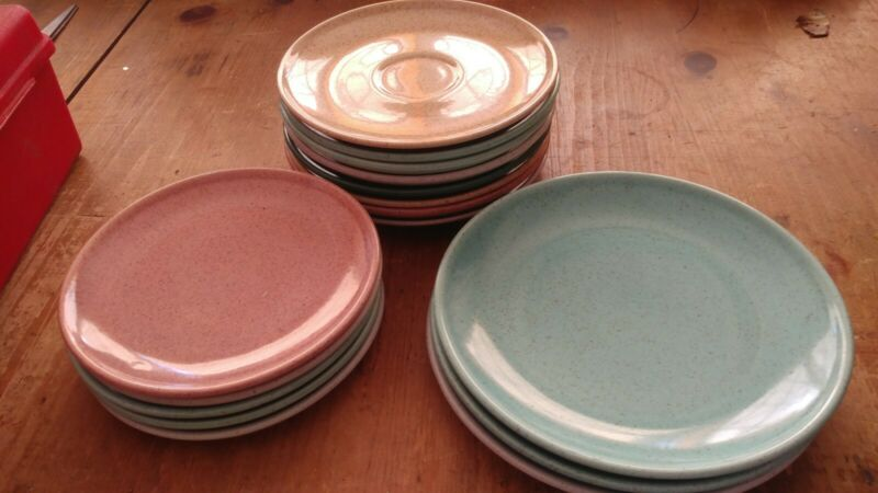 VINTAGE Lot of Holiday of California Laurel Pattern Mixed Colors Speckled Glaze