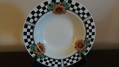 Tabletops Unlimited  Sunny Rimmed Soup Bowl Sunflowers  Black Checked Rim