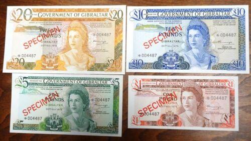 1978 Gibraltar 1,5,10,20 Pound Specimen Bank Note Set Crisp Uncirculated COA
