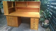 Large wooden desk with great shelving, drawers and cupboard Drummoyne Canada Bay Area Preview