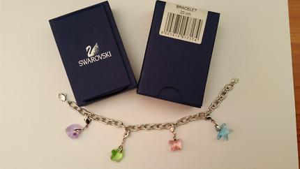 Swarovski 20cm Silver Bracelet with 4 Charms