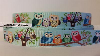 Grosgrain Ribbon, Owl Family on Blue Tint Mint Green Wild Life Nature Trees 7/8