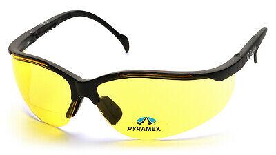 Pyramex Venture 1.5 Yellow Bifocal Reader Safety Glasses Night Driving Sun Z87