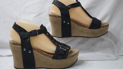 Pierre Dumas 'Hester-2' Studded Black Platform Wedge Sandal Women Size 8.5 M