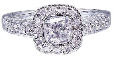 GIA F-SI1 14k White Gold Cushion Cut Diamond Engagement Ring Bezel Deco 1.70ctw