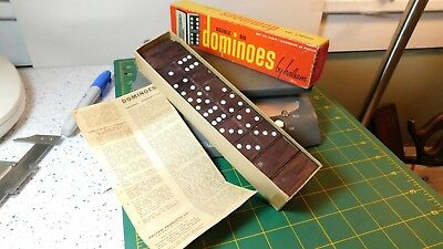 Vtg.#623-W Halsam Double Six Dominoes 28 pieces w/Original Box & Rules Sheet Double Six Dominoes Rules