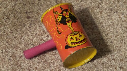Vintage Tin Lithograph Halloween Noisemaker with Wood Handle ~Nice One~