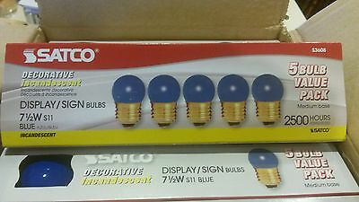 Blue Satco Incandescent Light Bulb - 25 Satco Display Sign Bulbs S3608 7 1/2 Watt Blue S11 Medium Base Incandescent