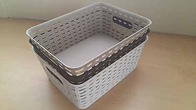 Rattan Small Style Storage Basket 3 Assorted Colours Beige Brown White Cheap!