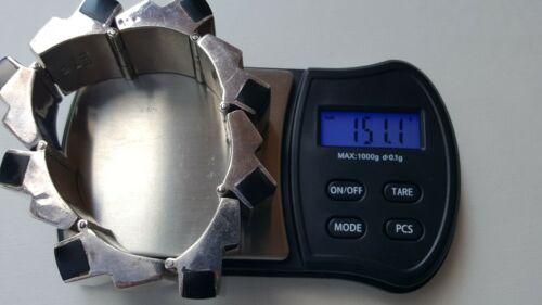 Chunky Taxco .925 Fine Sterling Silver & Black Onyx Hinged Bangle Bracelet 151 g