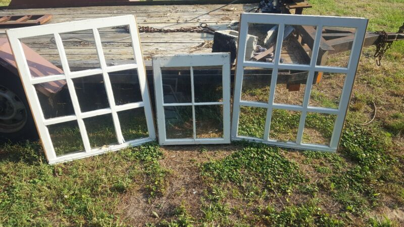 VINTAGE SASH ANTIQUE WOOD WINDOW SET OF 3