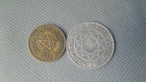 WORLD OLD COIN 1950s The Kingdom of Maroc 10 & 5 Francs 2 Rare Old Silver Coin!!