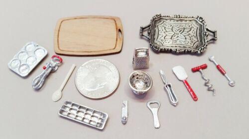 Dollhouse Miniature Kitchen Utensils, lot of 14 (Acc#12)