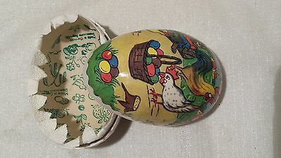 Vtg 50s Germany Paper Mache Easter Egg Rabbit Rooster Chicken Scene Hollow