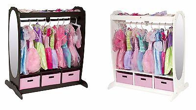 Kids Dress Up Storage Closet Center Toddler Toys Clothes Organizer White Brown