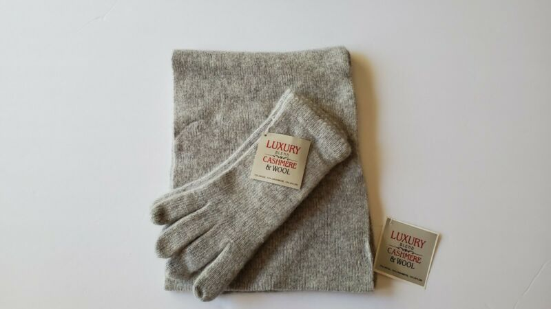 LUXURY BLEND CASHMERE & WOOL SCARF/GLOVES SET Gray NWT