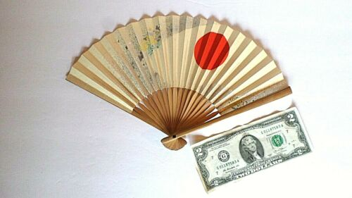 "Japanese Folding 12"" Fan Made of  Sensu Paper with Raising Sun and Frosty Shine"