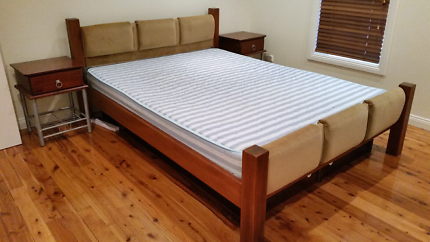 Queen bed, side tables and mattress