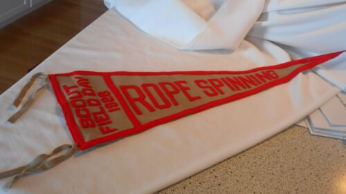 BSA Pennant Boy Scout Field Day 1928 ROPE SPINNING Authentic Tags Wool Felt (AeB