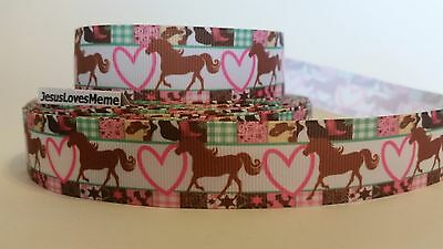 Grosgrain Ribbon, Horse Pony Pink Heart Western Patchwork Border Country Life 1