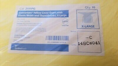 Cardinal Health 2111pg Cover Gown Convertors Yellow X-large Xl Elastic Wrists