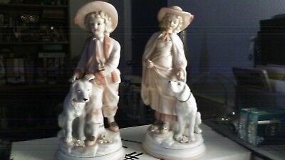 Andrea by Sadek Boy and Girl Figurine with Labrador Dogs 23/388 for sale  Sarasota