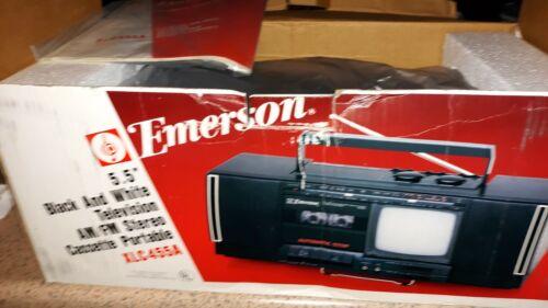 NEW IN BOX 1980 EMERSON BLACK & WHITE TV Am/Fm STEREO CASSET