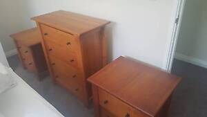 Two Bedsides and Matching Tallboy, Solid Timber, As new Como South Perth Area Preview