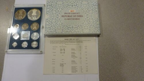 SCARCE 1977 INDIA 10 COIN PROOF SET WITH ORIGINAL BOX AND CERTIFICATE