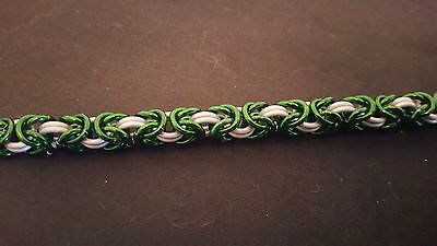 Green and White Anodized Aluminum Byzantine Chain mail Bracelet