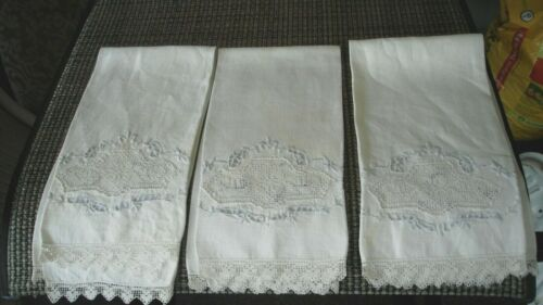 3 Vintage Embroidered Lace Linen Guest Towels