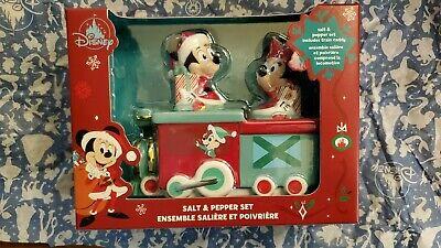 Disney Parks Mickey Minnie Mouse Christmas Holiday Train Salt Pepper Shaker Set