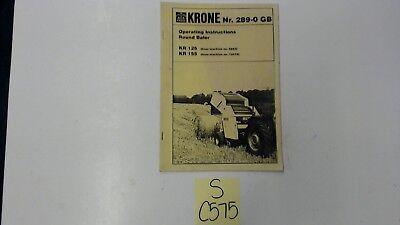 Krone Round Baler Kr125 Kr155 Operating Manual