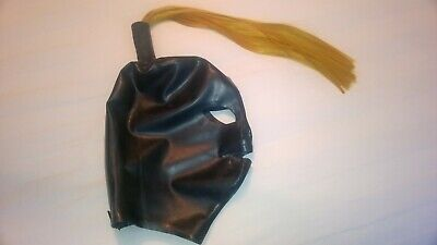 Rubber pony tail hood fetish